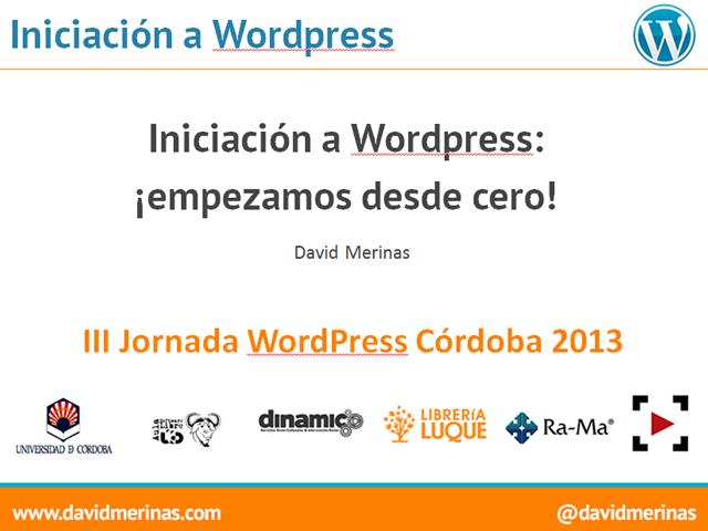 Iniciación a WordPress – Taller en las  III Jornadas WordPress Córdoba
